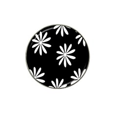 Black White Giant Flower Floral Hat Clip Ball Marker by Alisyart