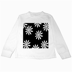 Black White Giant Flower Floral Kids Long Sleeve T Shirts by Alisyart