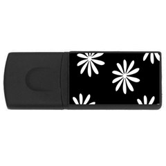 Black White Giant Flower Floral Usb Flash Drive Rectangular (4 Gb) by Alisyart