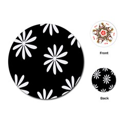 Black White Giant Flower Floral Playing Cards (round)