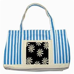 Black White Giant Flower Floral Striped Blue Tote Bag by Alisyart