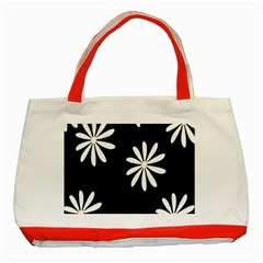 Black White Giant Flower Floral Classic Tote Bag (red) by Alisyart