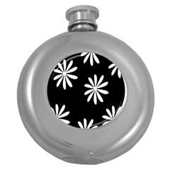 Black White Giant Flower Floral Round Hip Flask (5 Oz) by Alisyart