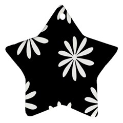 Black White Giant Flower Floral Star Ornament (two Sides) by Alisyart