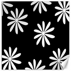 Black White Giant Flower Floral Canvas 12  X 12