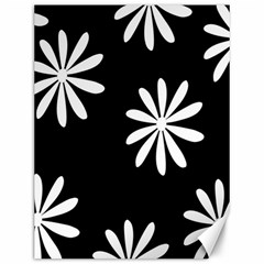 Black White Giant Flower Floral Canvas 12  X 16