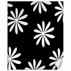 Black White Giant Flower Floral Canvas 16  X 20   by Alisyart