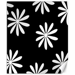 Black White Giant Flower Floral Canvas 20  X 24   by Alisyart