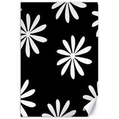 Black White Giant Flower Floral Canvas 20  X 30   by Alisyart