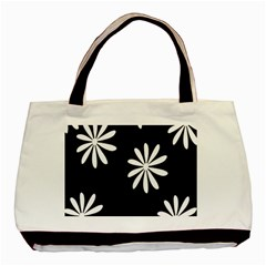 Black White Giant Flower Floral Basic Tote Bag (two Sides) by Alisyart