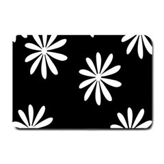 Black White Giant Flower Floral Small Doormat  by Alisyart