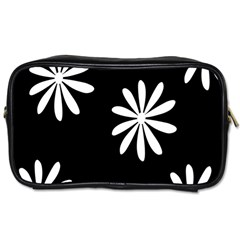 Black White Giant Flower Floral Toiletries Bags by Alisyart