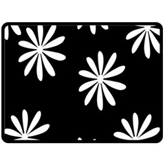 Black White Giant Flower Floral Fleece Blanket (large)