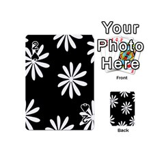 Black White Giant Flower Floral Playing Cards 54 (mini)