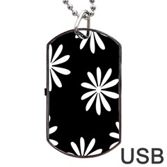 Black White Giant Flower Floral Dog Tag Usb Flash (one Side) by Alisyart