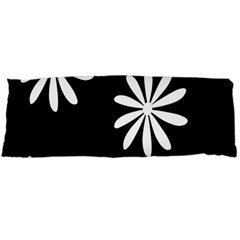 Black White Giant Flower Floral Body Pillow Case (dakimakura)