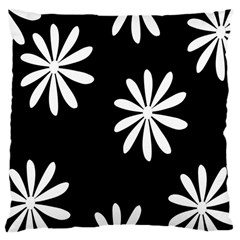 Black White Giant Flower Floral Large Cushion Case (two Sides) by Alisyart