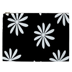 Black White Giant Flower Floral Cosmetic Bag (xxl)  by Alisyart