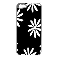 Black White Giant Flower Floral Apple Iphone 5 Case (silver) by Alisyart