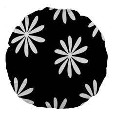 Black White Giant Flower Floral Large 18  Premium Round Cushions by Alisyart