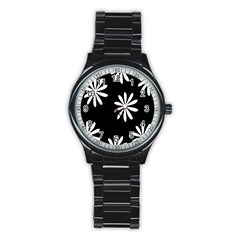Black White Giant Flower Floral Stainless Steel Round Watch by Alisyart
