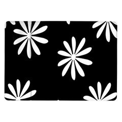 Black White Giant Flower Floral Samsung Galaxy Tab 10 1  P7500 Flip Case