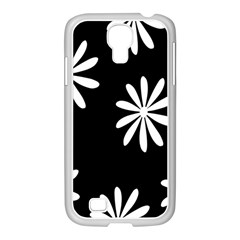 Black White Giant Flower Floral Samsung Galaxy S4 I9500/ I9505 Case (white)