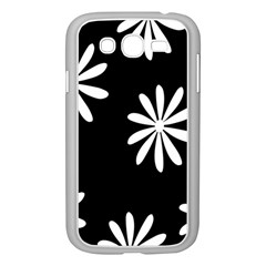 Black White Giant Flower Floral Samsung Galaxy Grand Duos I9082 Case (white) by Alisyart