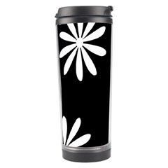 Black White Giant Flower Floral Travel Tumbler