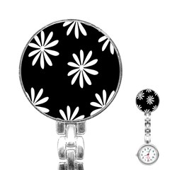 Black White Giant Flower Floral Stainless Steel Nurses Watch by Alisyart