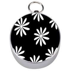 Black White Giant Flower Floral Silver Compasses by Alisyart