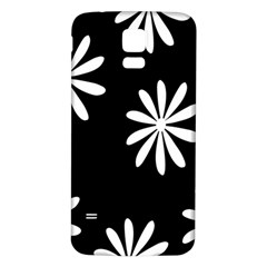 Black White Giant Flower Floral Samsung Galaxy S5 Back Case (white) by Alisyart
