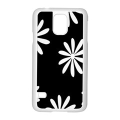 Black White Giant Flower Floral Samsung Galaxy S5 Case (white)