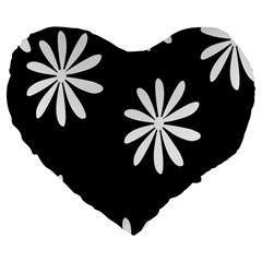 Black White Giant Flower Floral Large 19  Premium Flano Heart Shape Cushions by Alisyart
