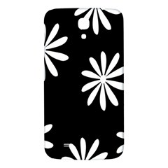Black White Giant Flower Floral Samsung Galaxy Mega I9200 Hardshell Back Case