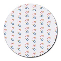 Baby Pacifier Pink Blue Brown Kids Round Mousepads by Alisyart