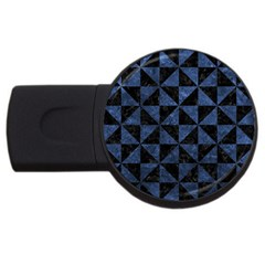 Triangle1 Black Marble & Blue Stone Usb Flash Drive Round (2 Gb) by trendistuff