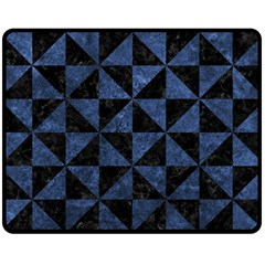 Triangle1 Black Marble & Blue Stone Fleece Blanket (medium) by trendistuff