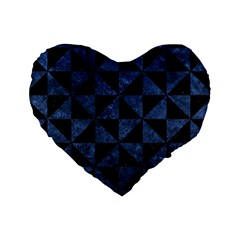 Triangle1 Black Marble & Blue Stone Standard 16  Premium Heart Shape Cushion  by trendistuff