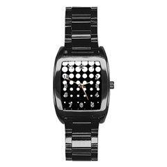 Circle Masks White Black Stainless Steel Barrel Watch by Alisyart