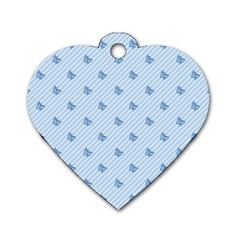 Blue Butterfly Line Animals Fly Dog Tag Heart (one Side)