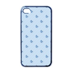 Blue Butterfly Line Animals Fly Apple Iphone 4 Case (black)