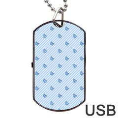 Blue Butterfly Line Animals Fly Dog Tag Usb Flash (one Side) by Alisyart