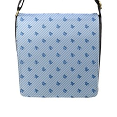 Blue Butterfly Line Animals Fly Flap Messenger Bag (l)  by Alisyart