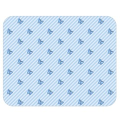 Blue Butterfly Line Animals Fly Double Sided Flano Blanket (medium)