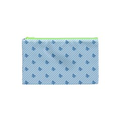 Blue Butterfly Line Animals Fly Cosmetic Bag (xs) by Alisyart