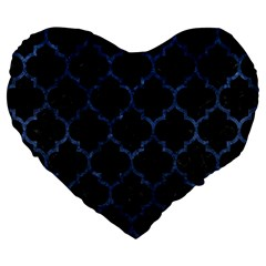 Tile1 Black Marble & Blue Stone Large 19  Premium Heart Shape Cushion by trendistuff