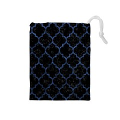 Tile1 Black Marble & Blue Stone Drawstring Pouch (medium) by trendistuff