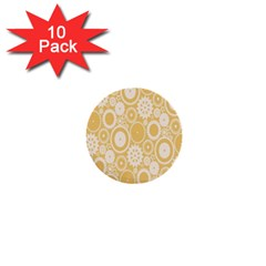 Wheels Star Gold Circle Yellow 1  Mini Buttons (10 Pack)  by Alisyart