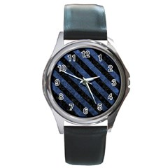 Stripes3 Black Marble & Blue Stone (r) Round Metal Watch by trendistuff